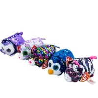 new 410cm ty beanie boos big eyes sequins phone wipe penguin zebra leopard owl plush dolls collection stuffed toy child gift