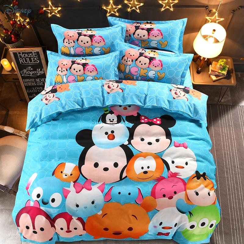 جديد الكرتون ديزني ماركة طقم سرير حاف طقم أغطية غطاء سرير سادات الأطفال مفارش التوأم كامل الملكة حجم أفضل الهدايا