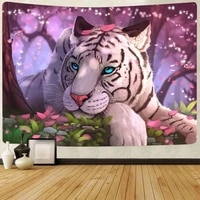 simsant psychedelic forest decor tapestry animals tiger plants art wall hanging tapestries for living room home blanket decor