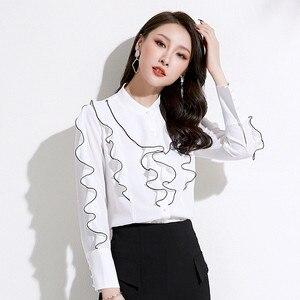 Women's shirts women's fashion elegant temperament OL commuter stand collar ruffle shirt women's casual chiffon shirt