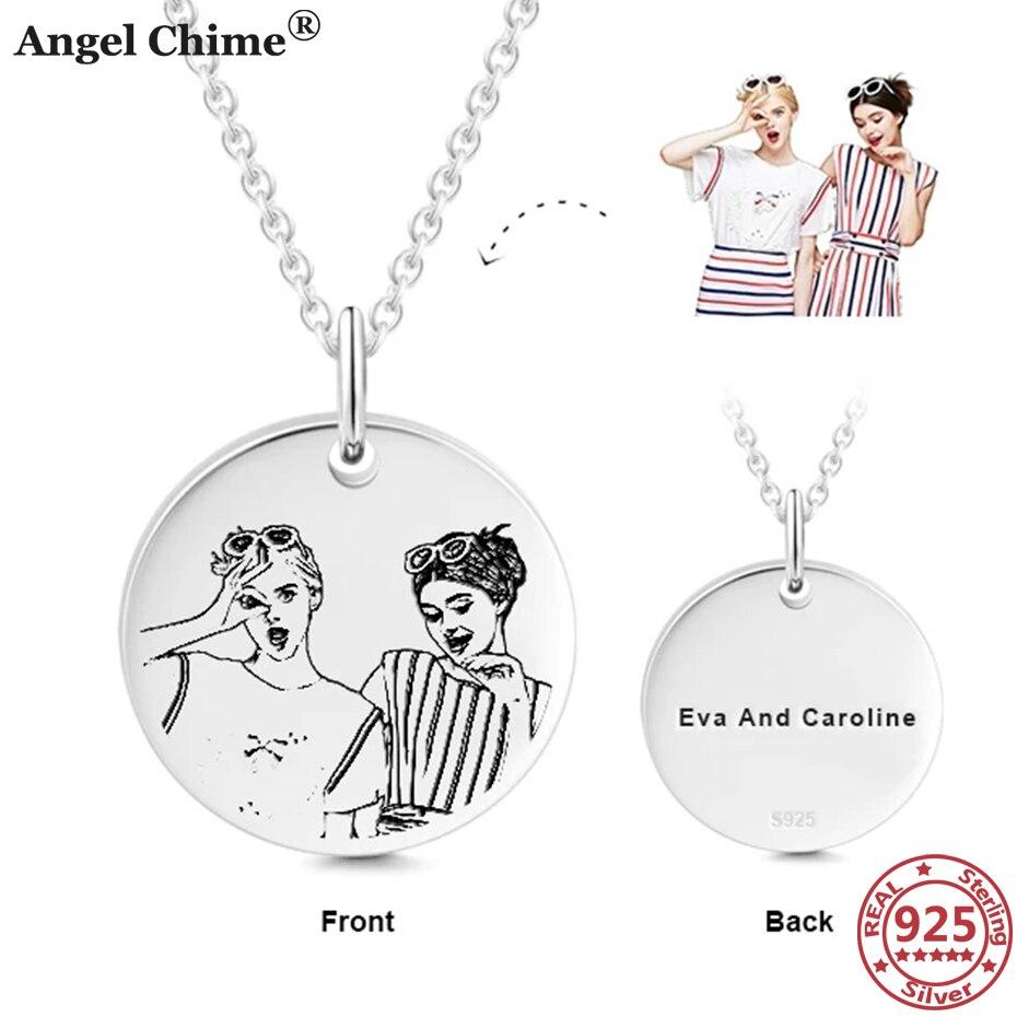 Серебряное ожерелье AC 925 пробы с персонализированными фотографиями, ожерелье под заказ, памятные ювелирные изделия, Подарок на годовщину
