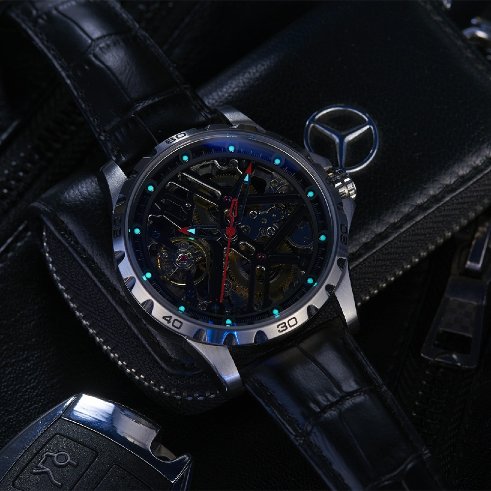 New Hollow Out Personalized Full-automatic Mechanical Watch Waterproof Watch Men's Cool Watch Fashion enlarge
