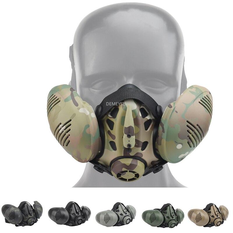 Респираторная маска для страйкбола, Тактическая защита на пол лица, для стрельбы, армии Cs, боевые тренировочные маски, оборудование для пейн...