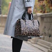 Modèle léopard imprimé femmes sac  sac à main en cuir véritable femme grand fourre-tout sacs à bandoulière peau de vache dames sac à bandoulière ~ 18B57