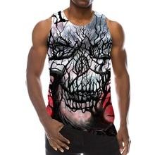 Camiseta de tirantes con estampado 3D para hombre, camisa de cuello redondo sin mangas para uso diario, con calavera abstracta negra, estilo Hip Hop