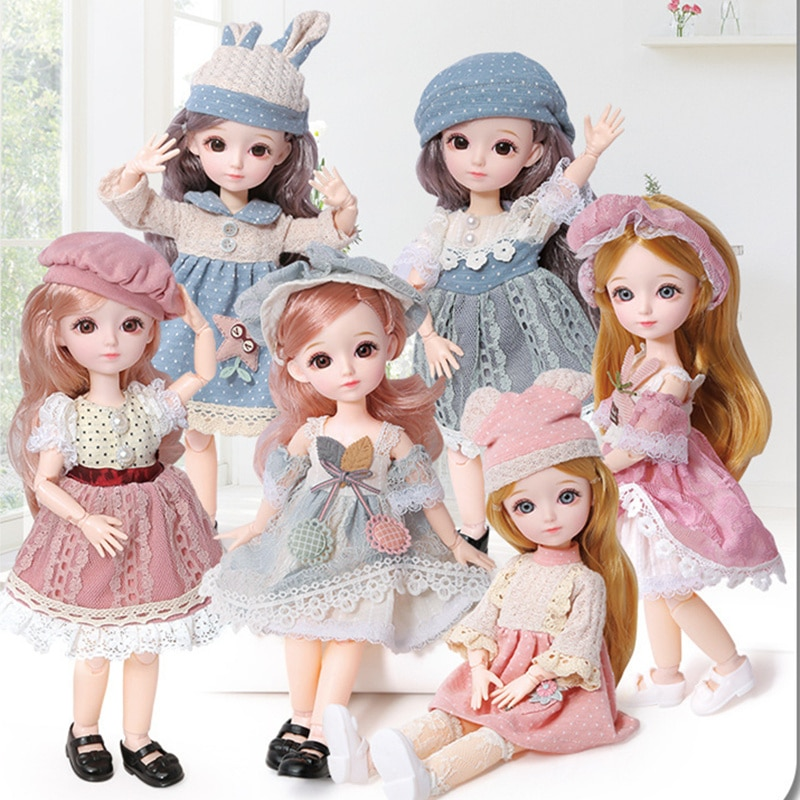 New 12 Inch 22 Movable Joints BJD Doll 31cm 1/6 Makeup Dress Up Cute Brown Blue Eyeball Dolls with Fashion for Girls Toy