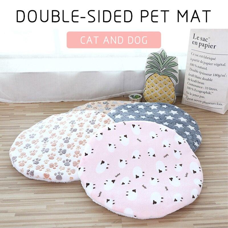 Мягкий коврик для собак, моющееся круглое одеяло для домашних животных, двусторонняя теплая спальная кровать с принтом, хлопок, механическа...