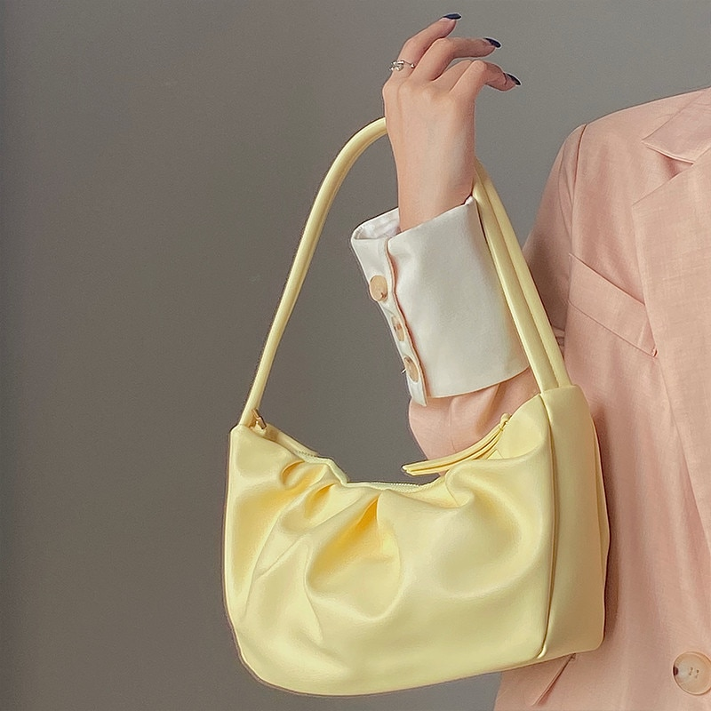 Ladies hand bag Folds Design women Shoulder bag 2021 Elegant Solid Color Female Travel Handbags PU Leather totes yellow wallet