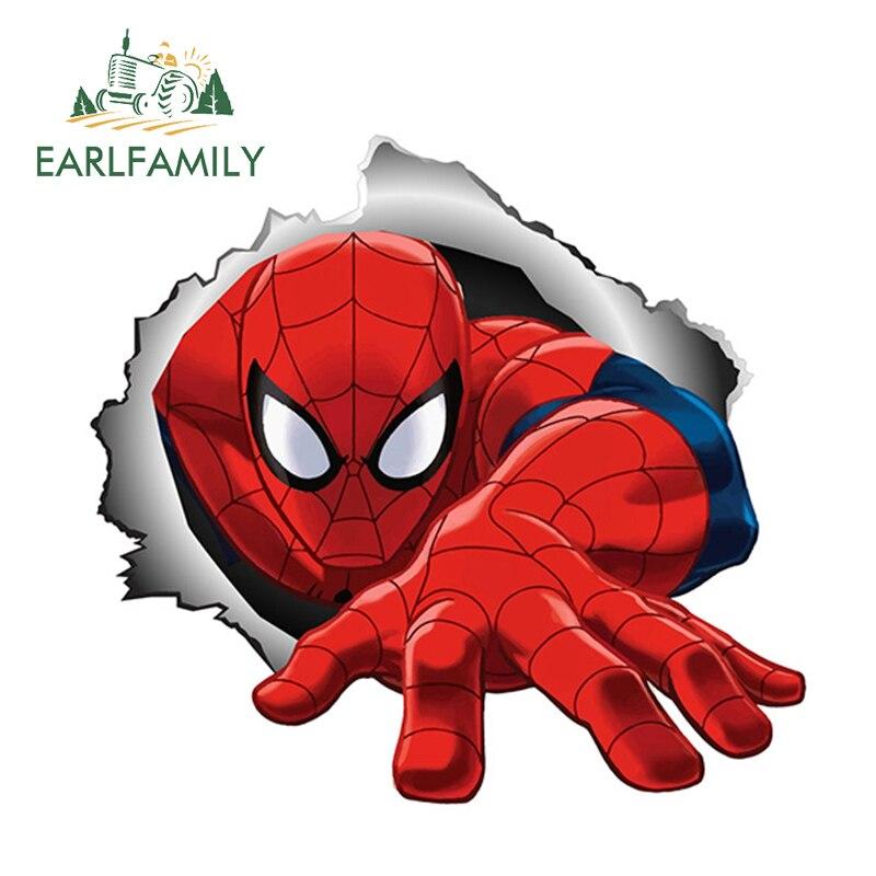 EARLFAMILY 13cm x 12,1 cm para pegatina de Spiderman, pegatinas de Metal rasgado para coche, accesorios impermeables, parachoques de coche, ventana, pegatina de Marvel