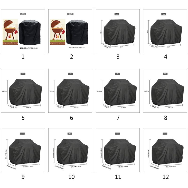 190T 210D BBQ Cover Outdoor Dust Waterproof Weber Heavy Duty Grill Cover Rain Protective Outdoor Bar
