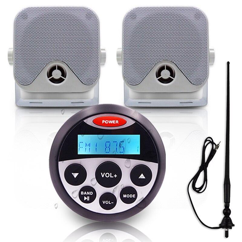 Reproductor de MP3 con receptor de Audio estéreo Bluetooth marino + altavoz marino resistente al agua de 4 pulgadas + antena FM AM para moto de barco ATV