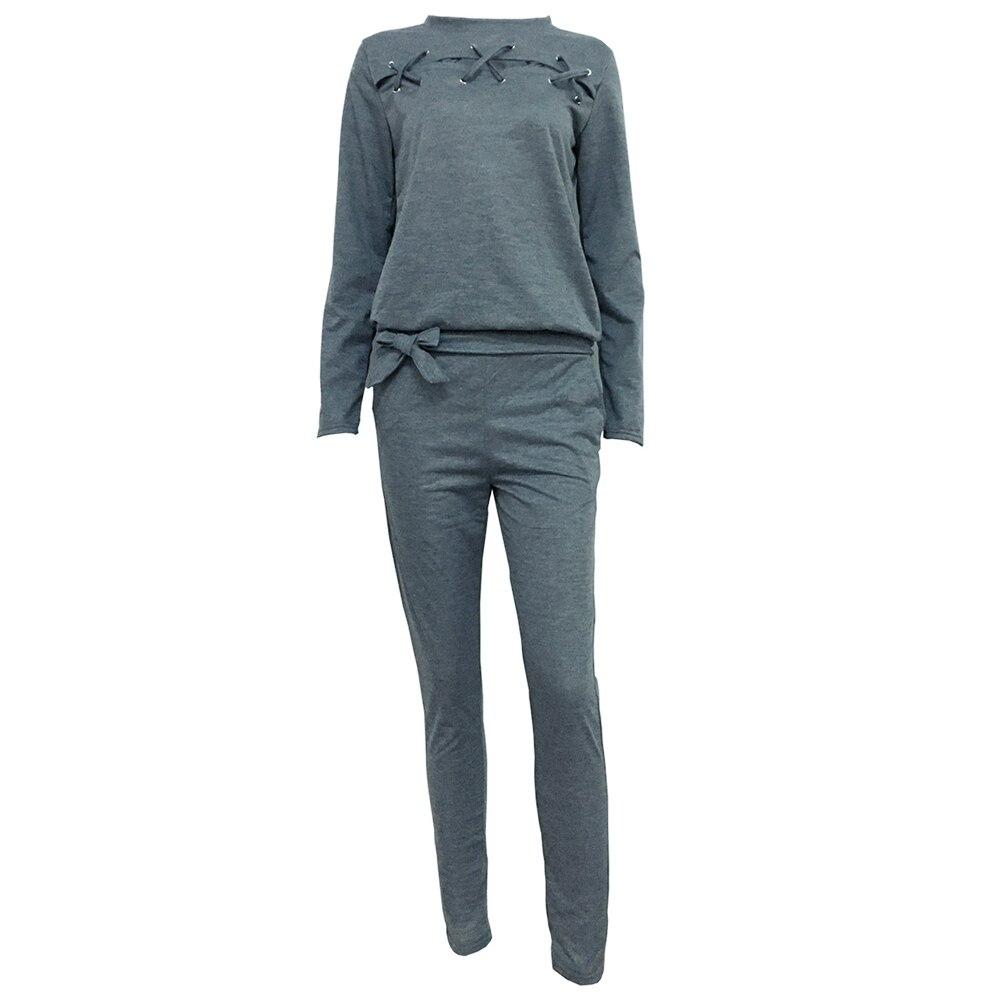 2019 nuevo 2 unids/set chándal para mujer Color sólido hueco manga larga cuello redondo blusa pantalones conjunto chándal Sudadera con capucha de mujer