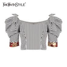 TWOTWINSTYLE Vintage Gestreiften Frauen Hemd Quadrat Kragen Puff Kurzarm Patchwork Bownot Hit Farbe Blusen Für Weibliche Kleidung