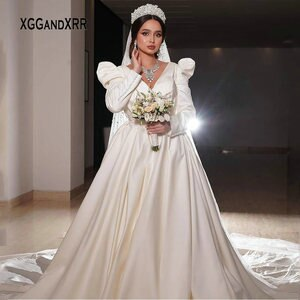 Elegant Princess Long Sleeves Wedding Dress 2021 V Neck Bridal Gown Chapel Train Saudi Arabia Style Bride Formal Gala Gown White