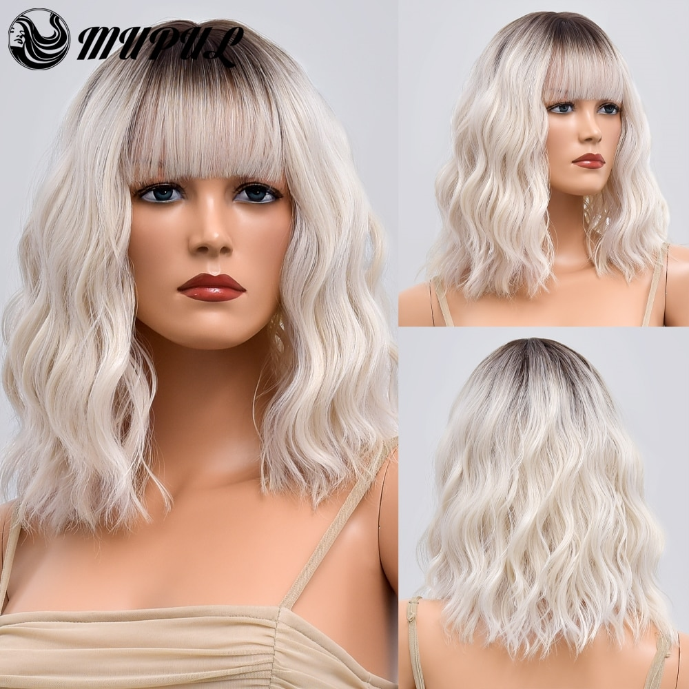 Women's White Short Wave Ombre Natural Hair Synthetic Wigs With Bangs For Women Daily Fibre Heat Resistant Cosplay Wavy Wig