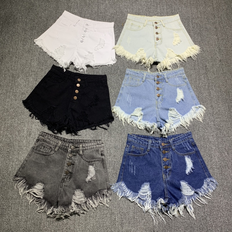 female fashion casual summer cool women denim booty Shorts high waists fur-lined leg-openings Plus size  short Jeans