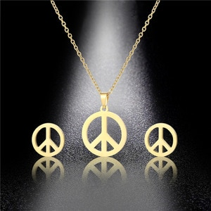 Small Gold Stainless Steel Round World Peace Sign Symbol Pendant Chain Necklace Sets Choker For Women Collier Anti-war Jewelry
