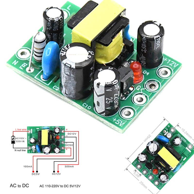 1 pces/4 pces venda quente mini AC-DC conversor ac 110 v 220 v para dc 12 v 0.2a + 5 v placa do módulo atacado