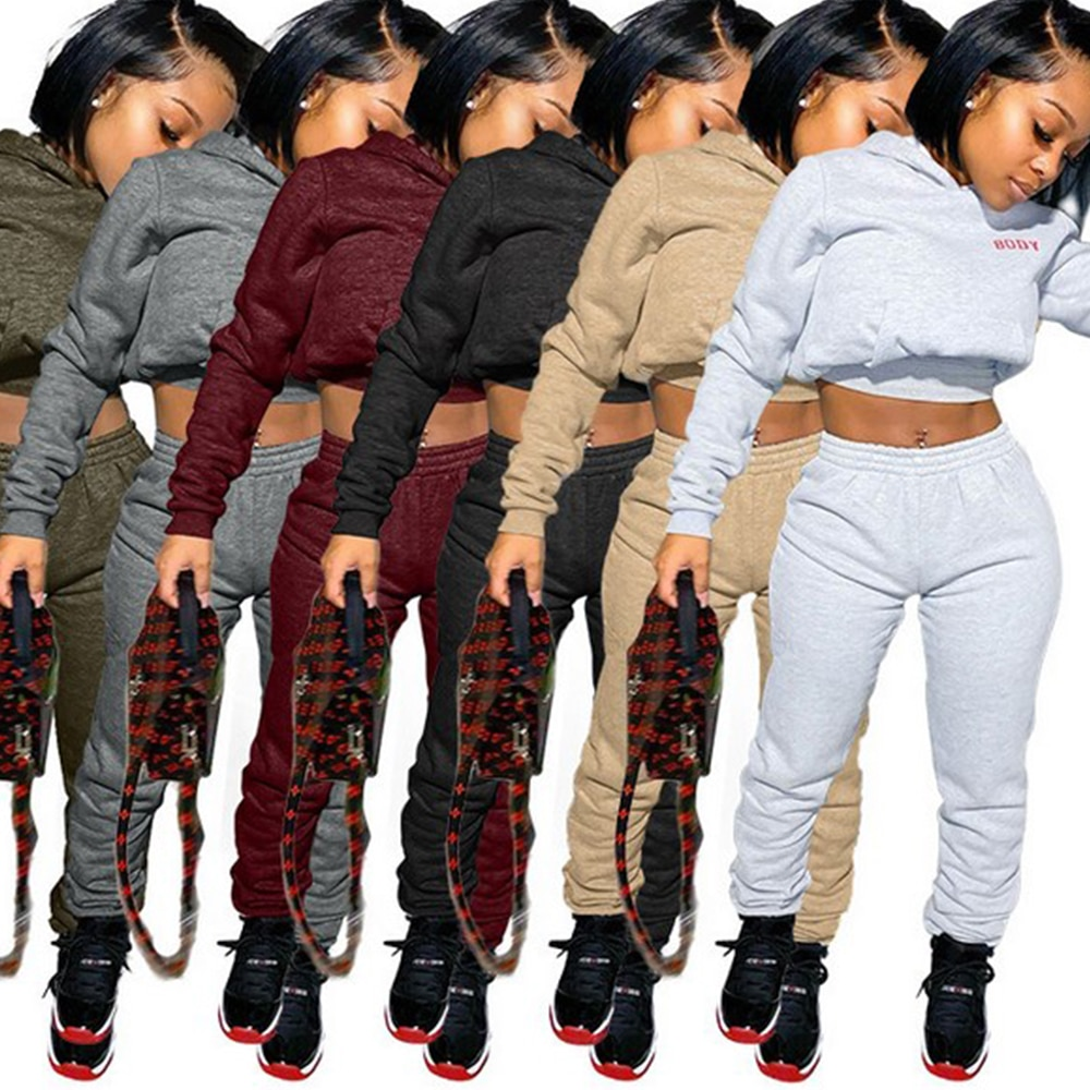 Lady Sporty 2 Piece Set Hoodies and Sweatpants Fall Winter Clothes Women Two Outfits Casual Tracksuits Sweatsuits