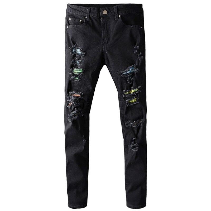 Модные мужские джинсы в американском уличном стиле, Черные Эластичные зауженные рваные джинсы, мужские дизайнерские брюки составного кроя ...
