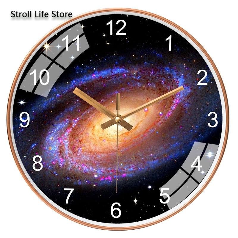 Reloj de pared de estilo europeo, moderno, silencioso, sala de estar, dormitorio, creativo, supersilencioso, estrella del espacio, Galaxia, Relojes de pared, decoración del hogar FZ825