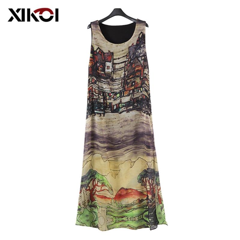 XIKOI Retro Summer Dresses And Sarafans Tunic Dress Summer Women's Sleeveless Tank Dress To The Floor Fashion Long Beach Dresses