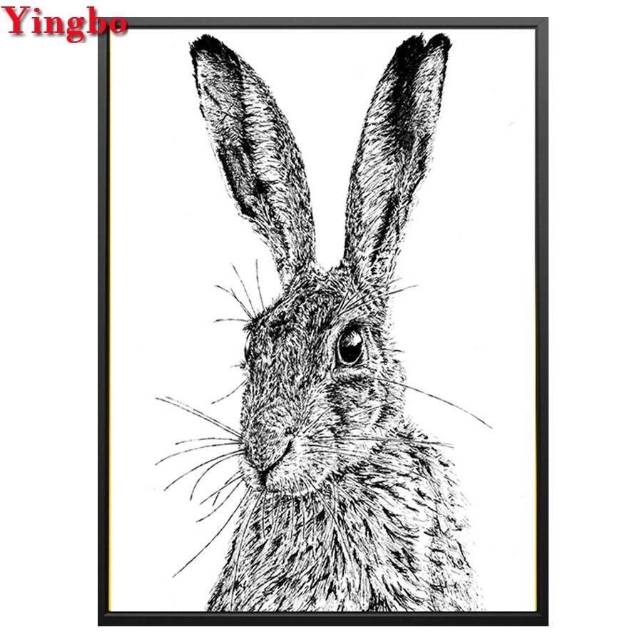 Черно-белая Алмазная картина с кроликом, полная квадратная круглая буровая мозаика, 3d вышивка крестиком, сделай сам, алмазная вышивка с живо...