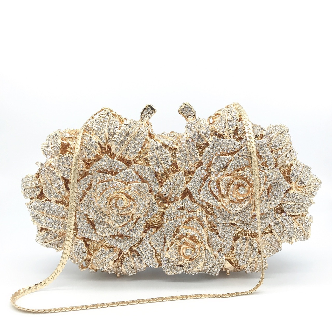 Good-looking Rose Diamond Dinner Bag Metal Hard Box Female Bag Annual Meeting Evening Dress Bag Diamond-studded Hand Bag