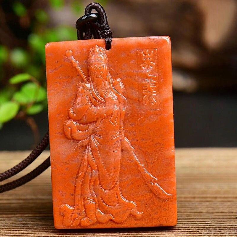JoursNeige Huang colgantes de piedra Natural tallado fino Guan Yu colgantes para hombres mujeres suéter collar de cadena joyería de moda