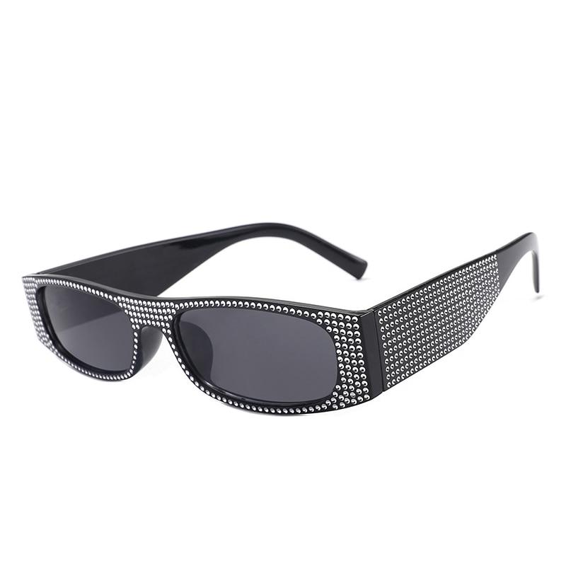 Luxury Small Square Sunglasses Women Imitation Diamond Sung Lasses Retro Evening Glasses Cross Fashi