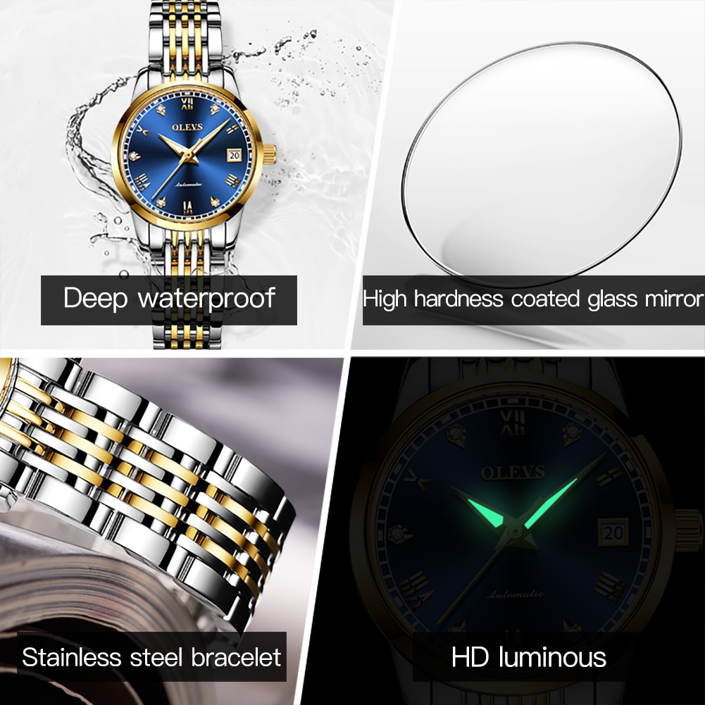 OLEVS Luxury Brand Women's Watches Automatic Mechanical Dress Wrist Watch Bracelets Ladies Wristwatch Gift female часы женские enlarge