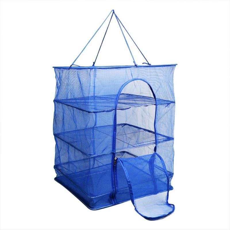 Rejilla de secado plegable de 4 capas para red de peces, percha colgante de malla plegable para secar verduras, cesta, equipo de pesca