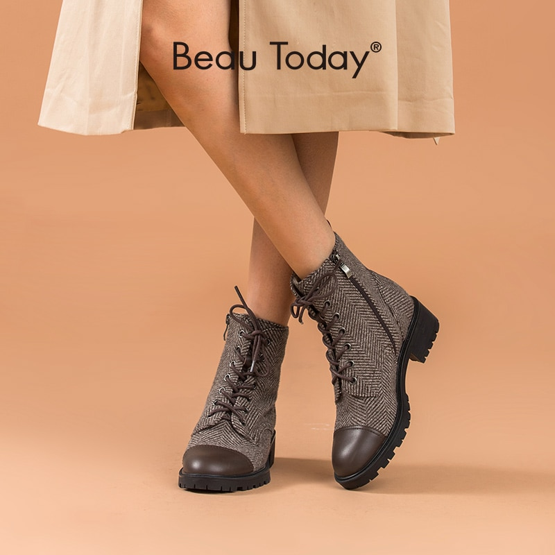 BeauToday-حذاء نسائي من جلد البقر متقلب ، حذاء بتصميم مرقع مع سحاب جانبي ، صناعة يدوية ، 03835