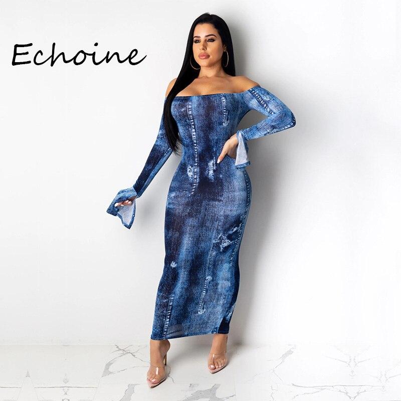 2020 Spring Women Denim Jeans Dress Slash Neck Off Shoulder Long Sleeve Bodycon Dress Club Party Night blue color
