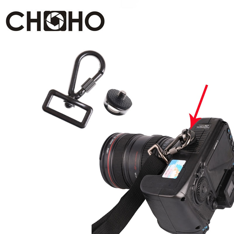 "Correa rápida para cámara de 1/4 "", tornillo de metal, hebilla de seguridad, botón de montaje, anillo de conexión para CANON y Nikon, accesorios"