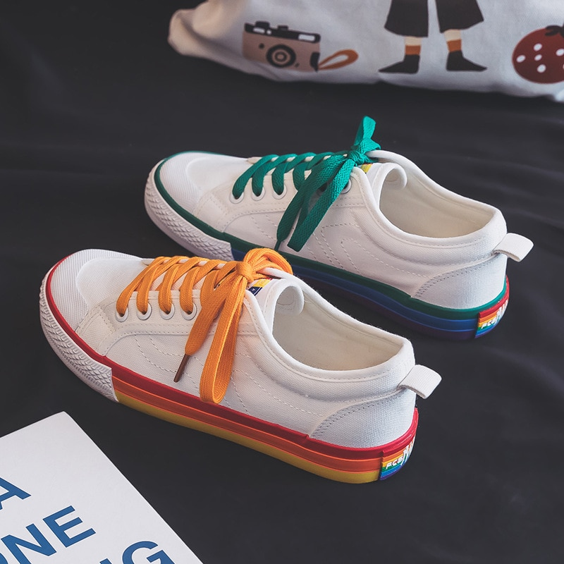 2021  New Canvas Shoes Lace-up Flat Mandarin Duck Color Casual Shoes Outdoor Fashion All-match Women's Shoes casual lace up color splice skate shoes