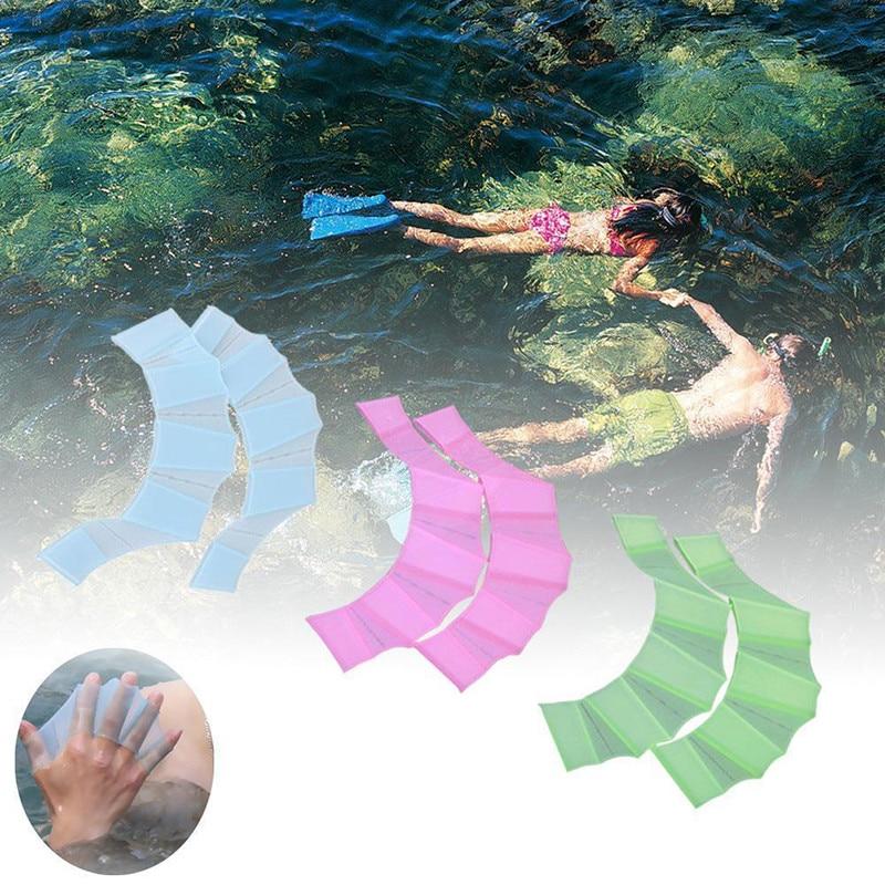 Luvas de silicone antiderrapantes para natação, luva de dedo para treinamento, natação, equipamentos de trem, 1 par