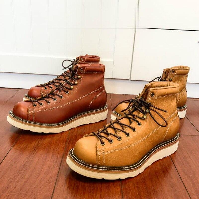 U6796 botas de trabajo de estilo americano de cuero genuino de vaca hechas a mano de gran calidad botas de desierto