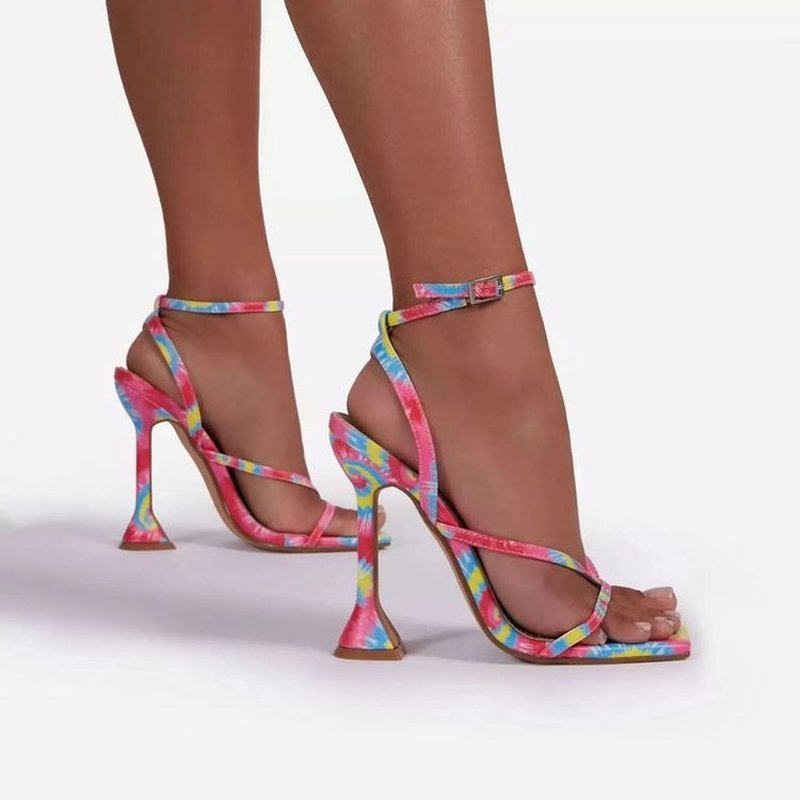 Summer Women's Sandals Ankle Cross Strap Female High Heels 2021 New Square Toe Ladies Design Woman P