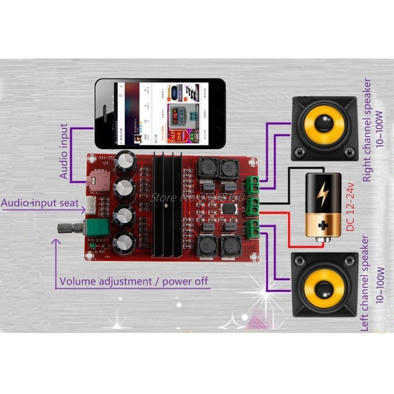 ¡Venta al por mayor! Amplificador Digital 2x100W 2 canales tarjeta de Audio Doble Canal 12 a 24V Placa de amplificador de Audio módulo DIY para TPA3116D2