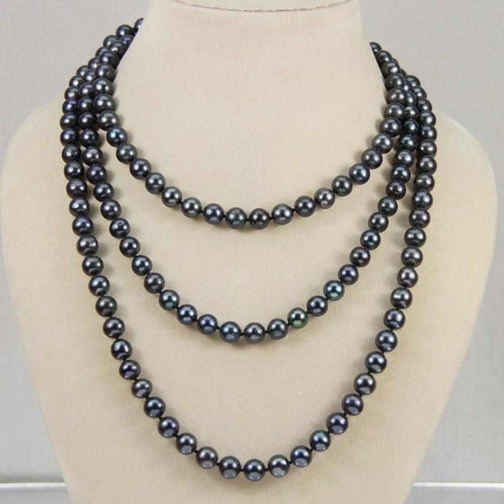 NATURAL 7-8 MM TAHITIAN negro perla collar AA largo 50 pulgadas