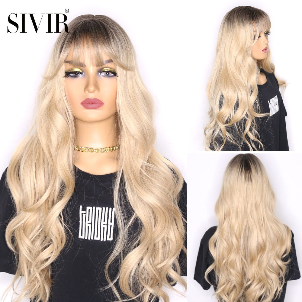 Sivir Ombre Black Brown Synthetic Wigs with Bangs for Black Woman Long Natural Wave Cosplay Heat Resistant Fibre wigs for women