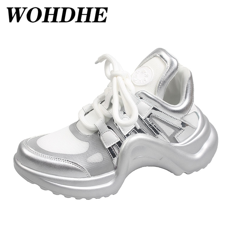 WOHDHE Women Running Breathable Retro Sports Sneaker Wearable Light Sport Shoes Non-slip Lace-up Whi