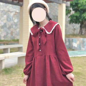 Japanese  College Style Cute Doll Collar Corduroy Long-Sleeved Dress for Women Autumn and Winter 2020 New  sweet lolita dress