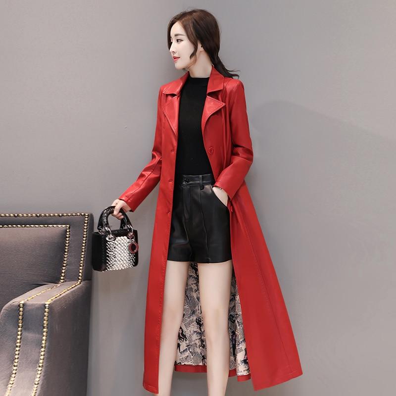 Fashion X-Long Women Leather Jacket Winter Autumn Plus Size 4XL Elegant Washed PU Leather Coats Female Trench Coat With Belt enlarge