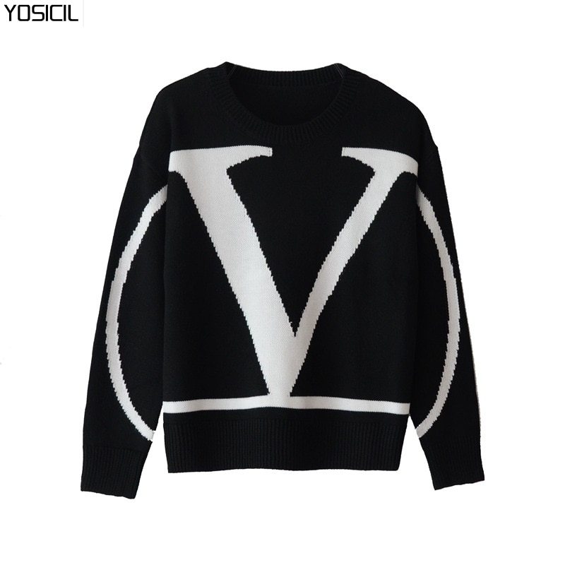 Fall Winter Sweaters Fashion Letter Women's Sweaters New Large Size Hedging Long Sleeve Loose Casual Women's Sweaters