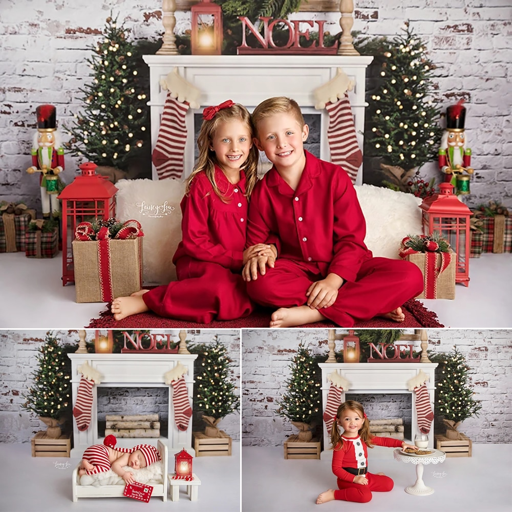 Xmas Photography Background Christmas Tree Decoration Prop Wreath White Brick Wall Backdrop Fireplace Child Party Photo Studio