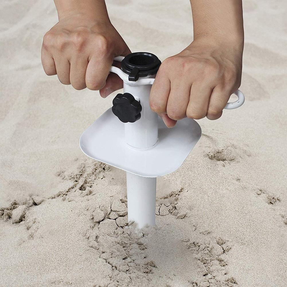 Soporte de sombrilla portátil fácil de instalar, soporte de sombrilla Manual, accesorios para Patio, playa, arena, jardín fijo, piscina