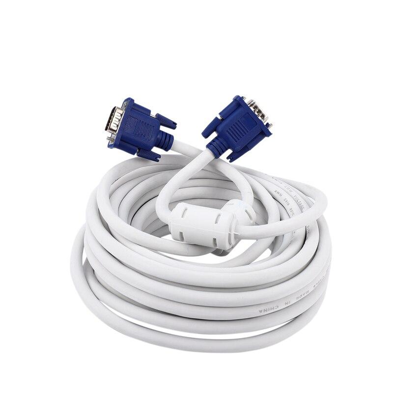 Hot-10M Cable VGA macho a macho 3 + 4 HD completamente cableado 15PIN para Lcd Crt proyector PC Monitor portátil