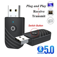 Bluetooth 5.0 USB Adapter 3.5mm AUX Bluetooth Audio Receiver Transmitter Wireless Dongle Adapter For